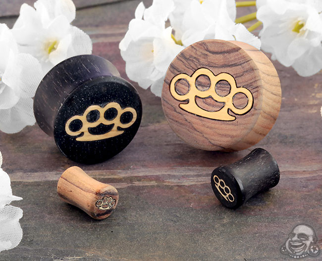 Wood Plugs with Brass Knuckles Inlays