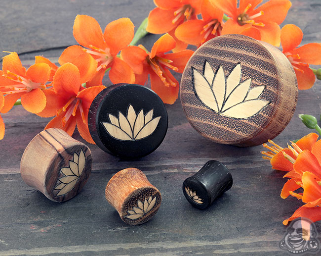 Wood plugs with lotus flower inlays mightylinksfo
