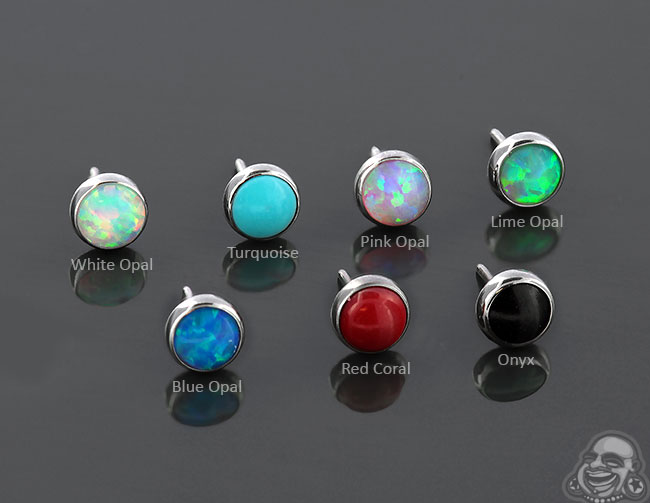 14g Non-Conversion Threadless Bezel Set Cabochon End