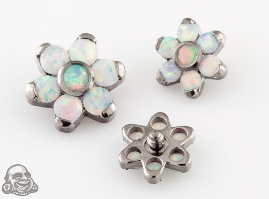 Internally Threaded Titanium Gemmed Flower End (Facted White Opal)