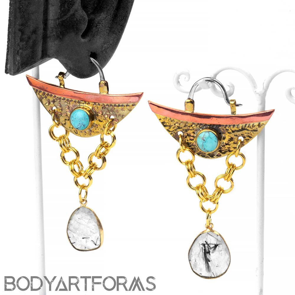 Brass and Copper Venus Design with Turquoise and Tourmalated Quartz