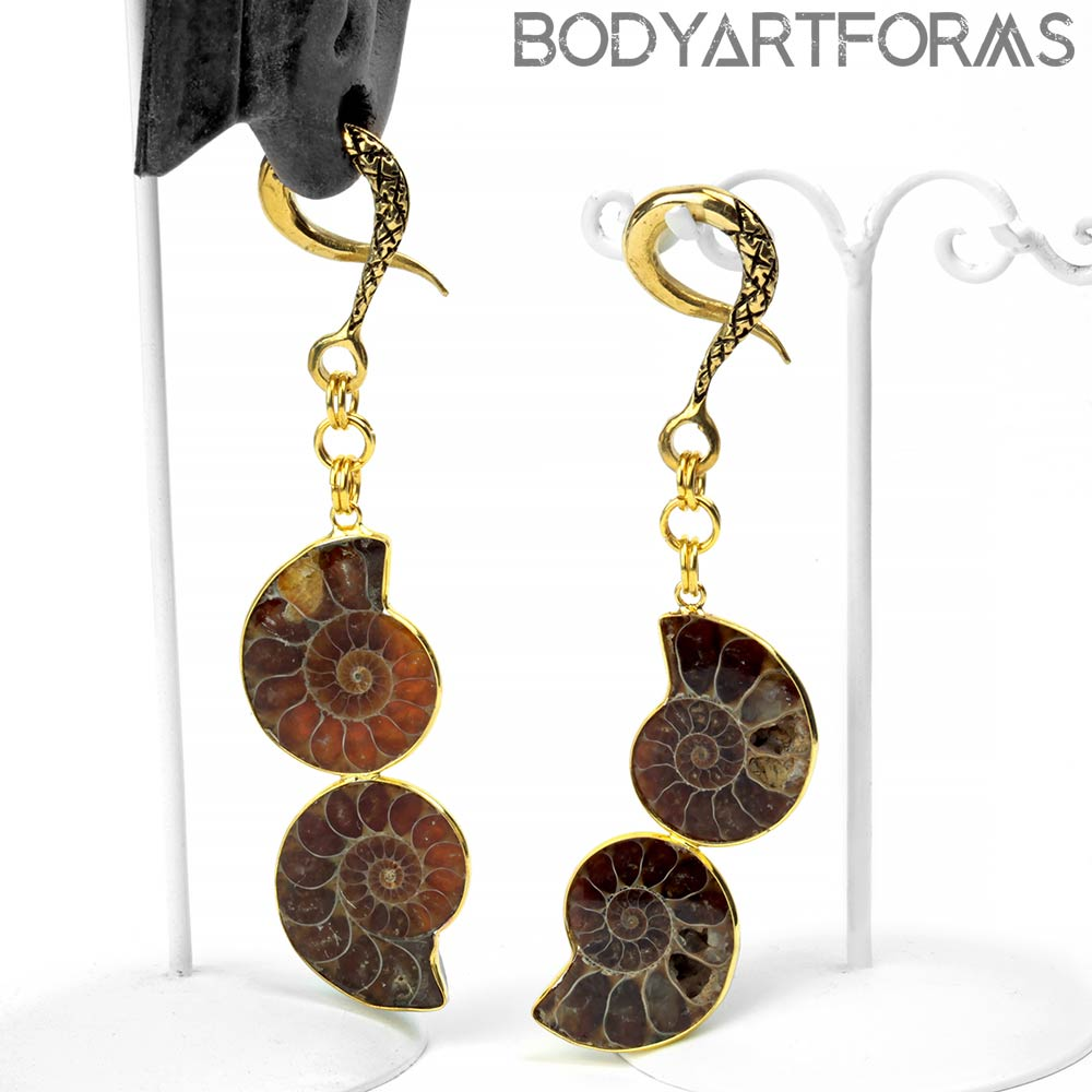 Solid Brass and Dual Ammonite Dangle Weights