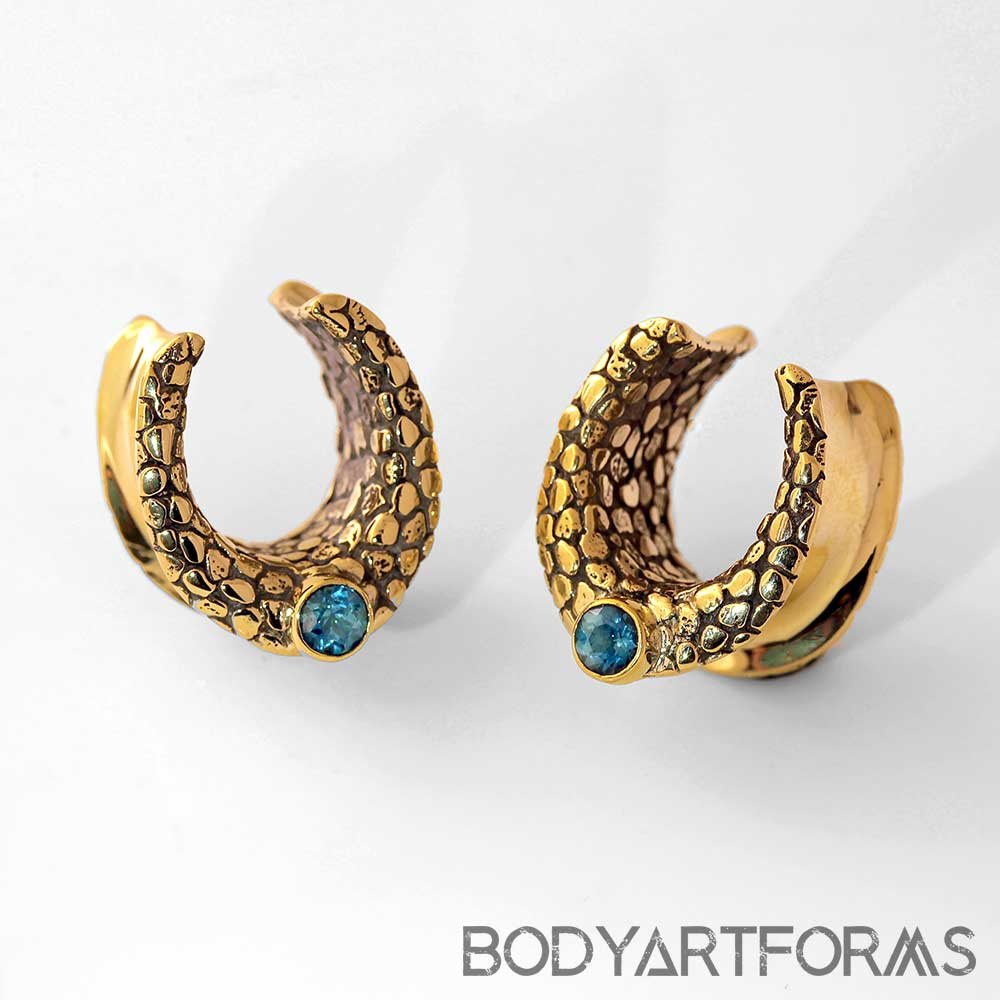 Textured Brass Saddles with London Blue Topaz