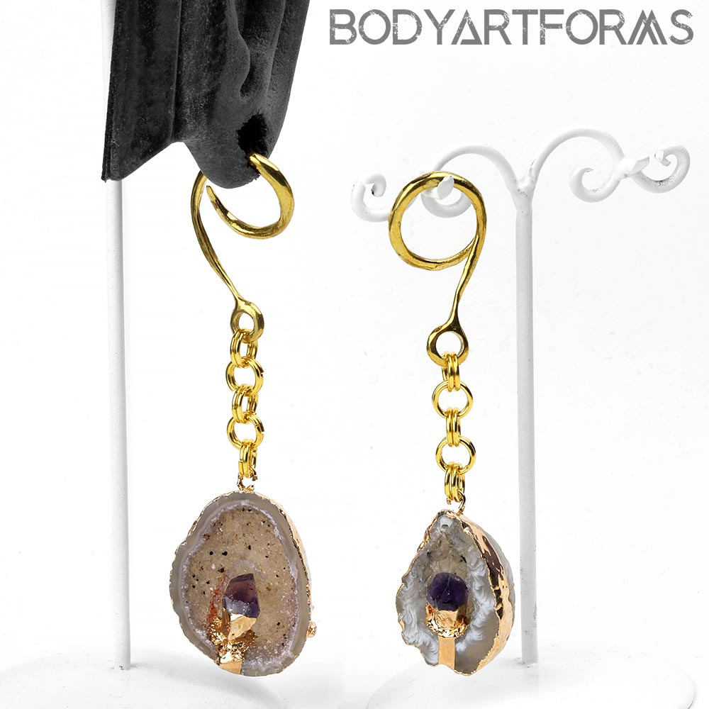Brass Dangle Weights with Amethyst and Geode Druzy