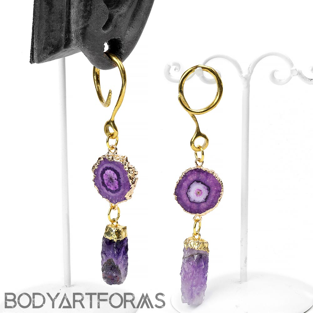 Solid Brass Dangle Weights with Amethyst and Purple Stalactite
