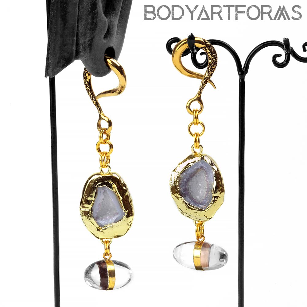 Solid Brass Dangle Weights with Quartz Eggs and Agate Druzy