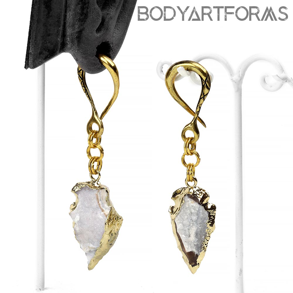 Brass Dangle Weights with Druzy Arrowheads