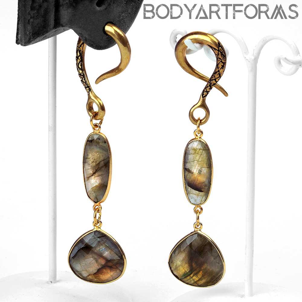 Solid Brass Labradorite Dual Drop Weights
