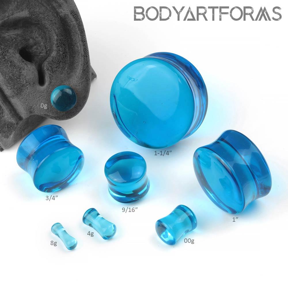 Sapphire Blue Glass Plugs
