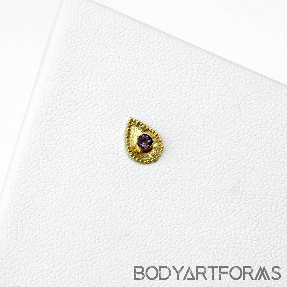 14k Gold Crybaby Threadless End with Amethyst Gemstone