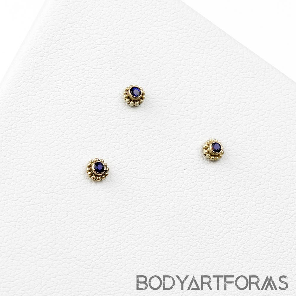 14k Gold Threadless End with Sapphire