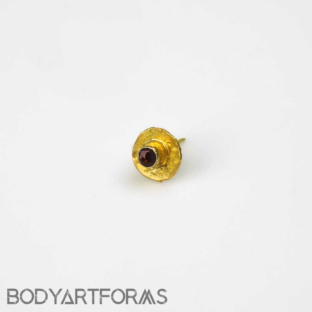 14k Gold Round Threadless End with Ruby