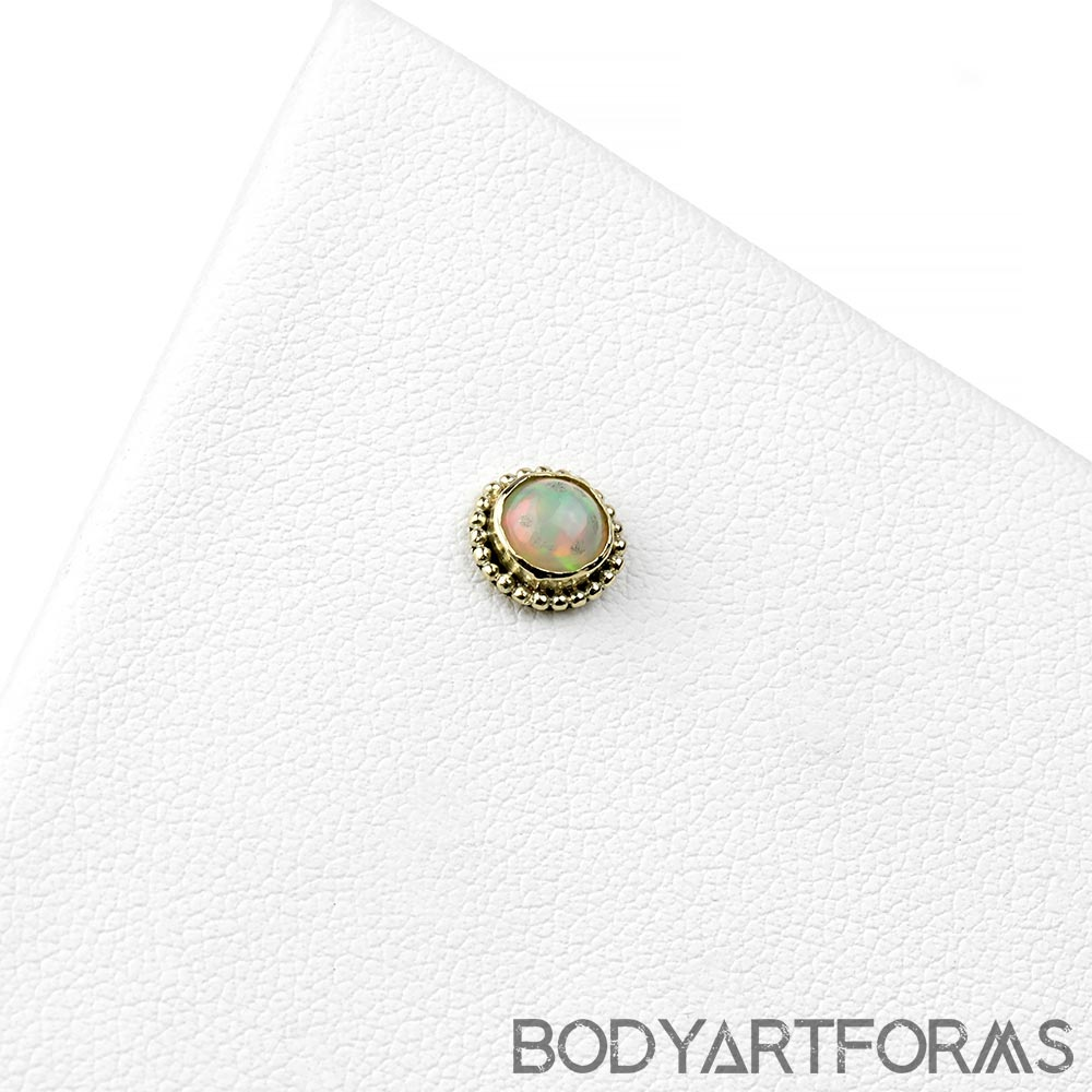 14k Gold Threadless End with Ethiopian Opal