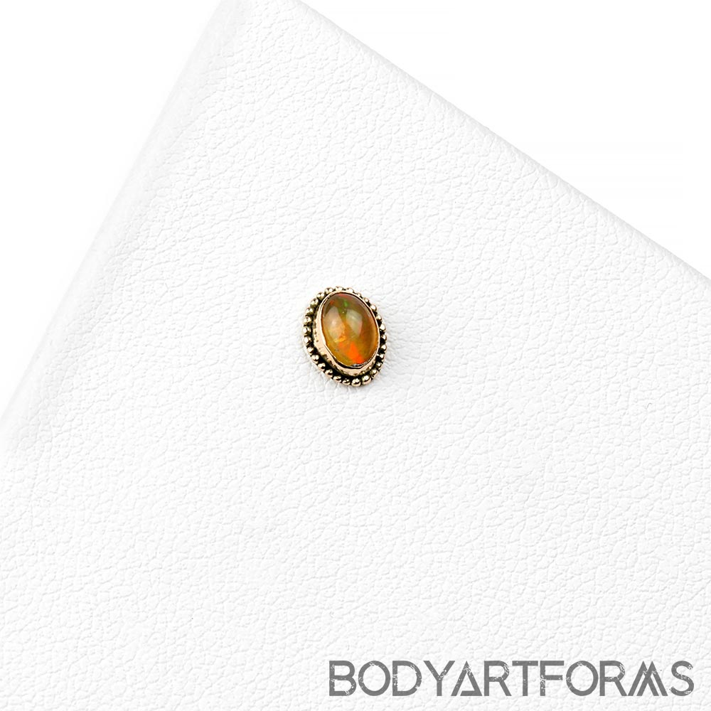 14k Gold Oval Threadless End with Ethiopian Opal