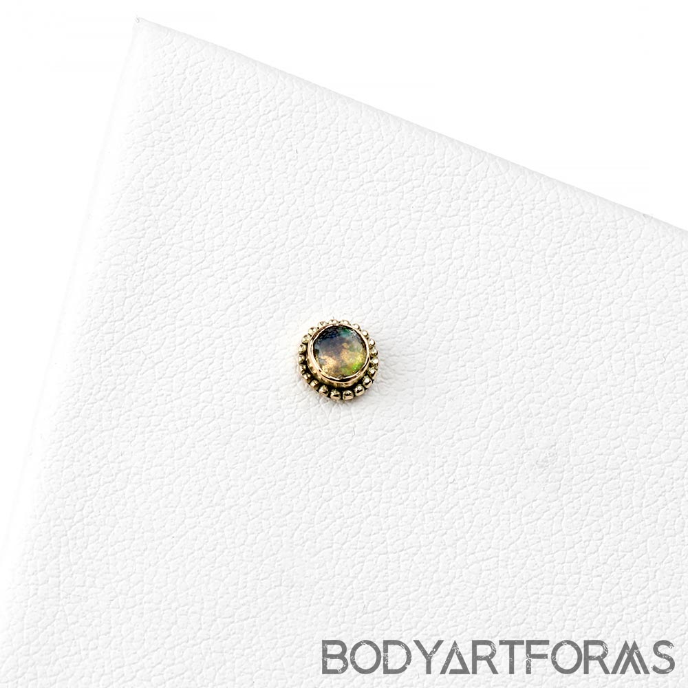 14k Gold Round Threadless End with Faceted Ethiopian Opal