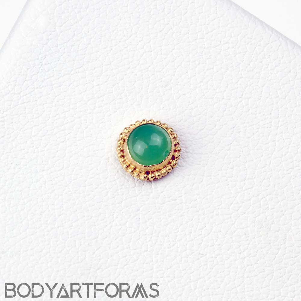 14k Rose Gold Round Threadless End with Chrysoprase