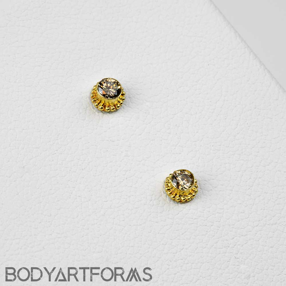 14k Gold Threadless End with Champagne Diamond