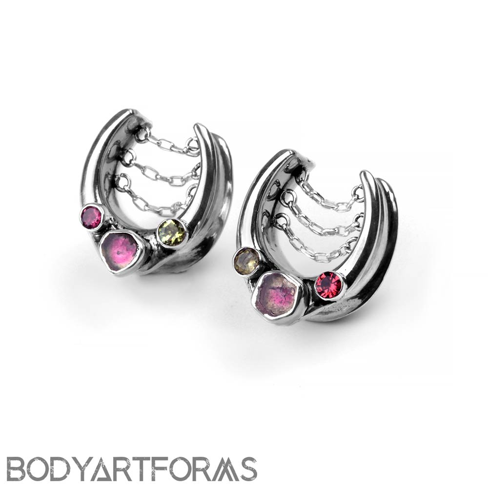 Sterling Silver Saddles with Watermelon Tourmaline