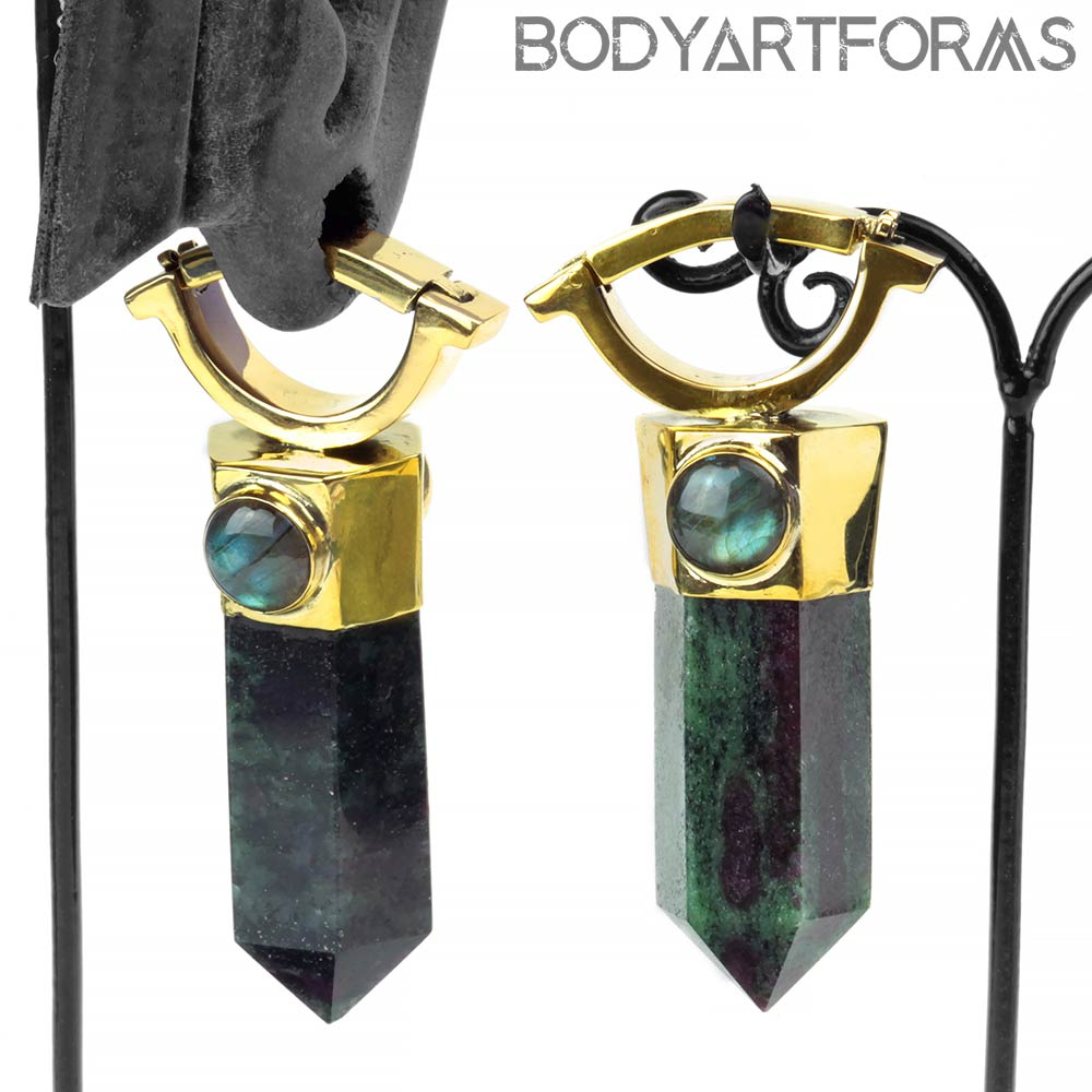 Ruby in Zoisite Zuul Weights with Labradorite Cabochons