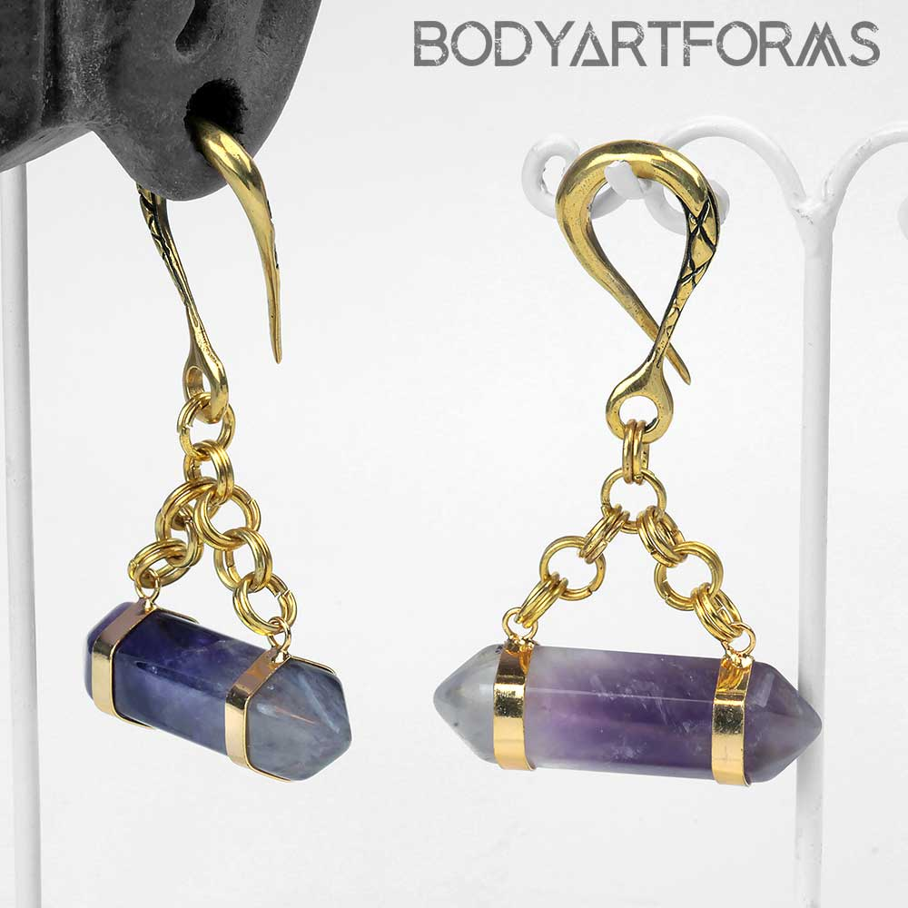 Solid Brass Weights with Wrapped Amethyst Points