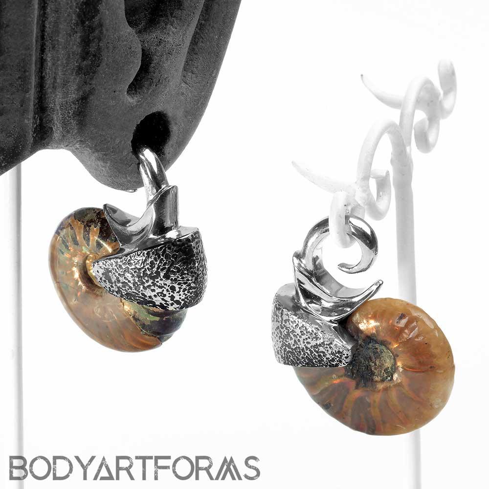 Oxidized White Brass Ammonite Weights