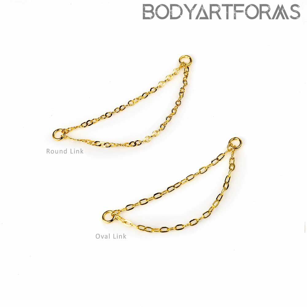 14K Gold Nostril Double Chain