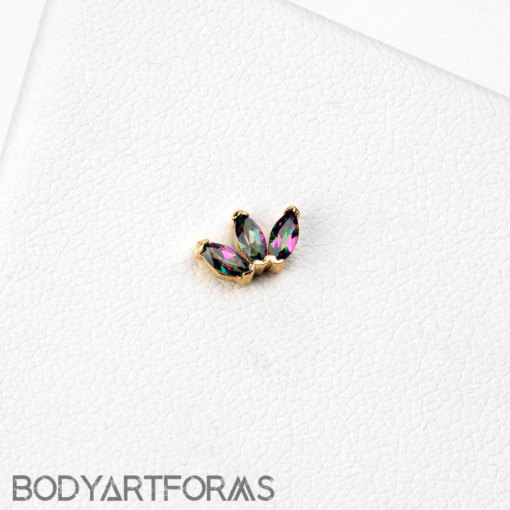 14k Gold Triple Marquise Threadless End