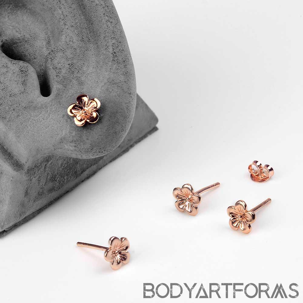 Rose Gold Cherry Blossom Earrings