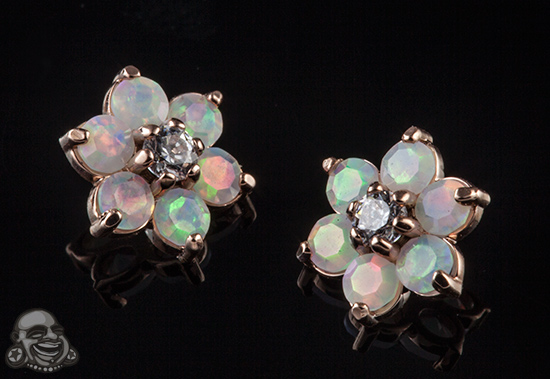 Internally Threaded Gold Flower End (Faceted White Opal/Clear CZ)