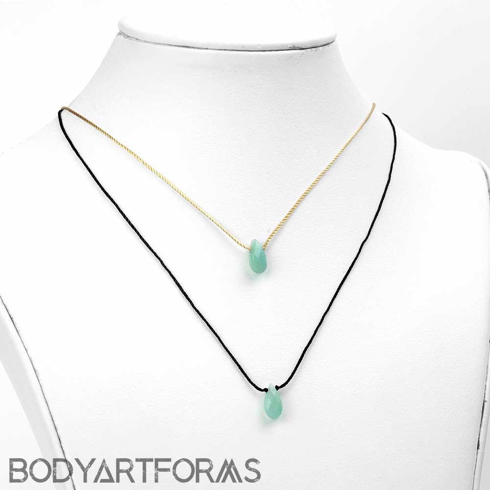 Silk and Aventurine Teardrop Necklace