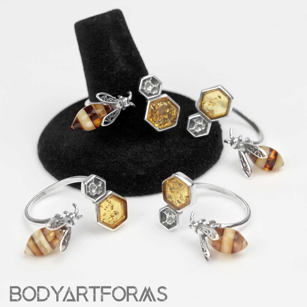 Adjustable Bee and Honeycomb Amber Ring
