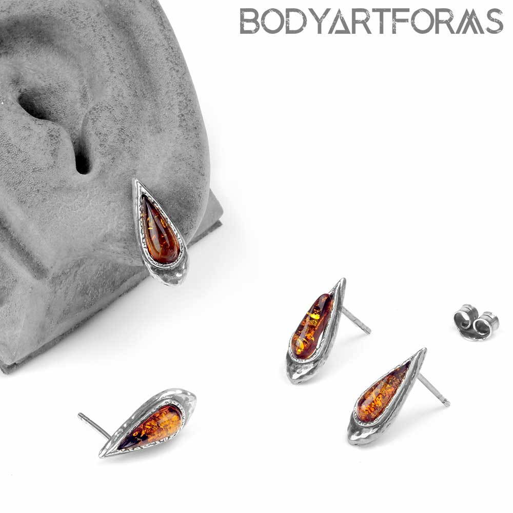 Silver and Antique Teardrop Amber Stud Earrings
