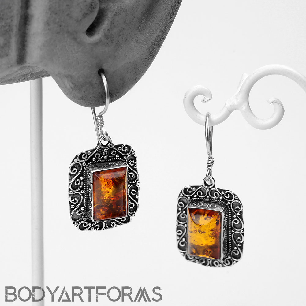 Silver and Baltic Amber Decor Earrings