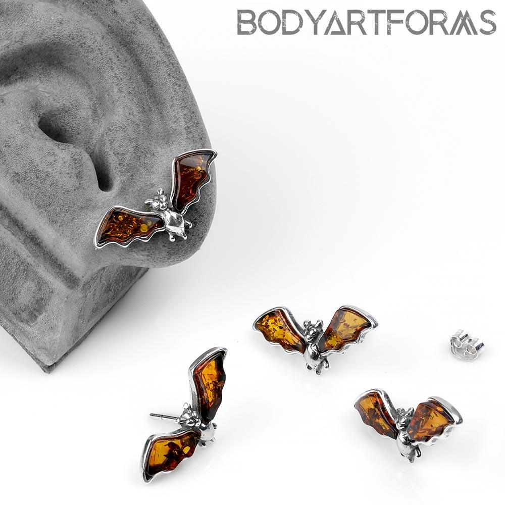 Silver and Amber Bat Stud Earrings