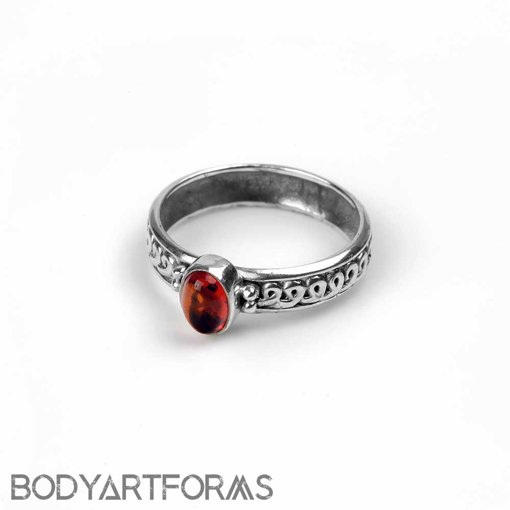 Silver Braided Amber Ring