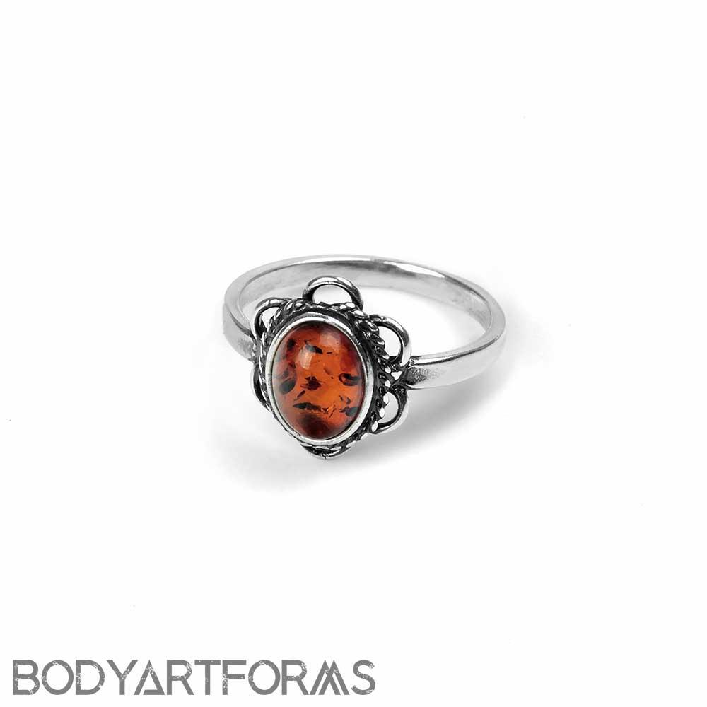 Braided Petal Amber Ring