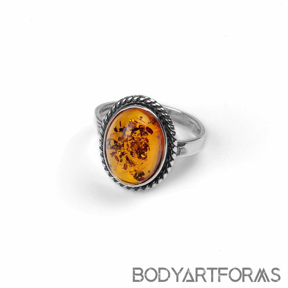 Braided Silver and Amber Ring