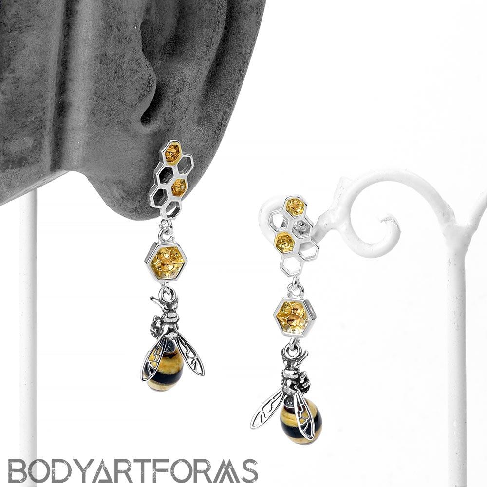 Dangling Amber Bumble Bee Earrings
