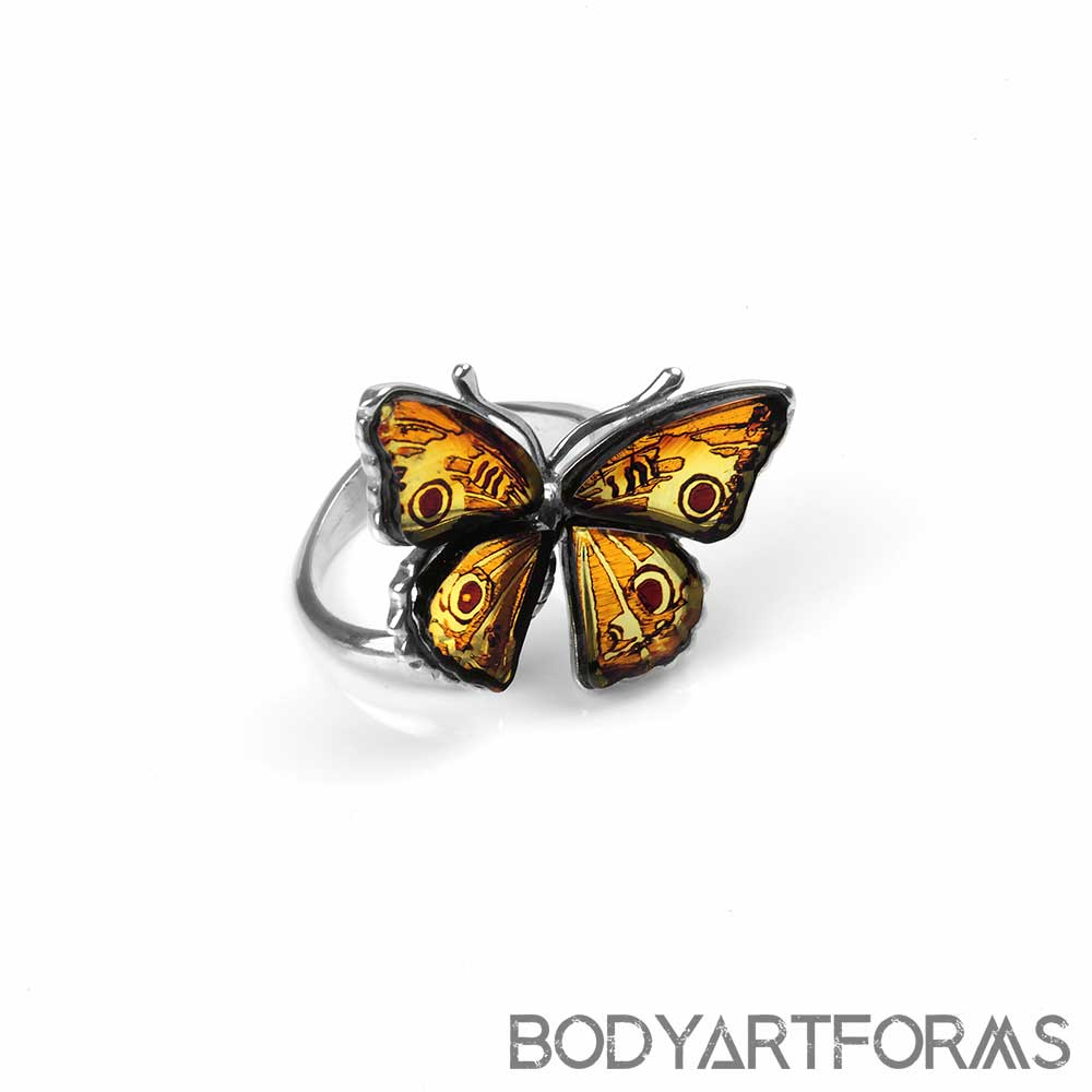 Silver and Amber Butterfly Ring