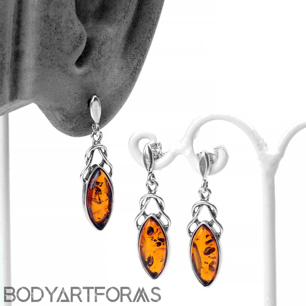 Silver and Amber Celtic Drop Earrings