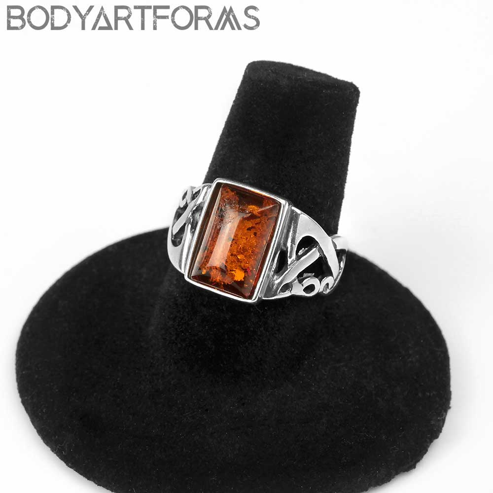 Celtic Silver and Amber Ring