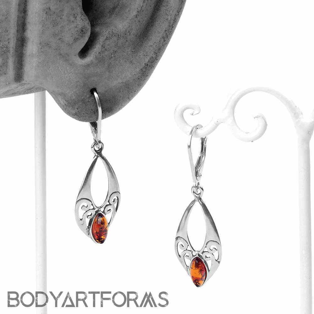 Silver and Amber Crest Earrings