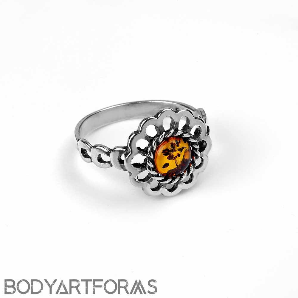 Amber Daisy Ring