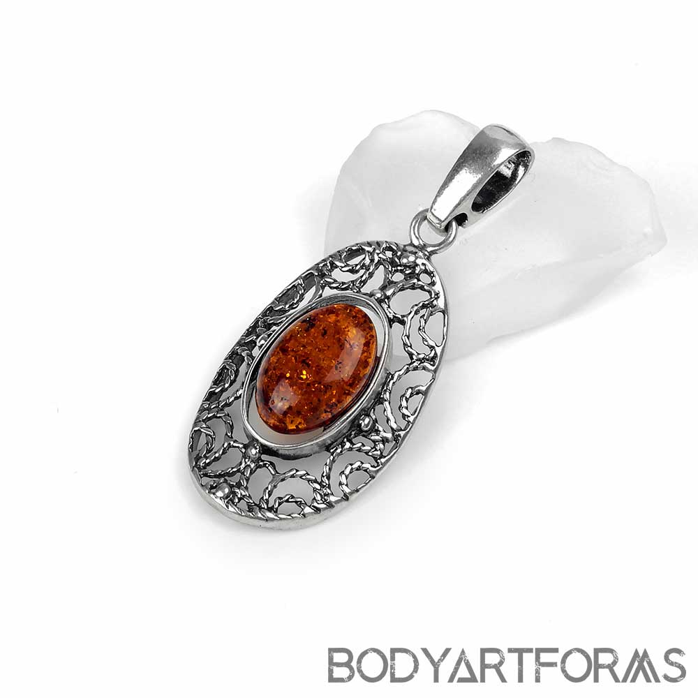 Deluxe Silver and Amber Pendant