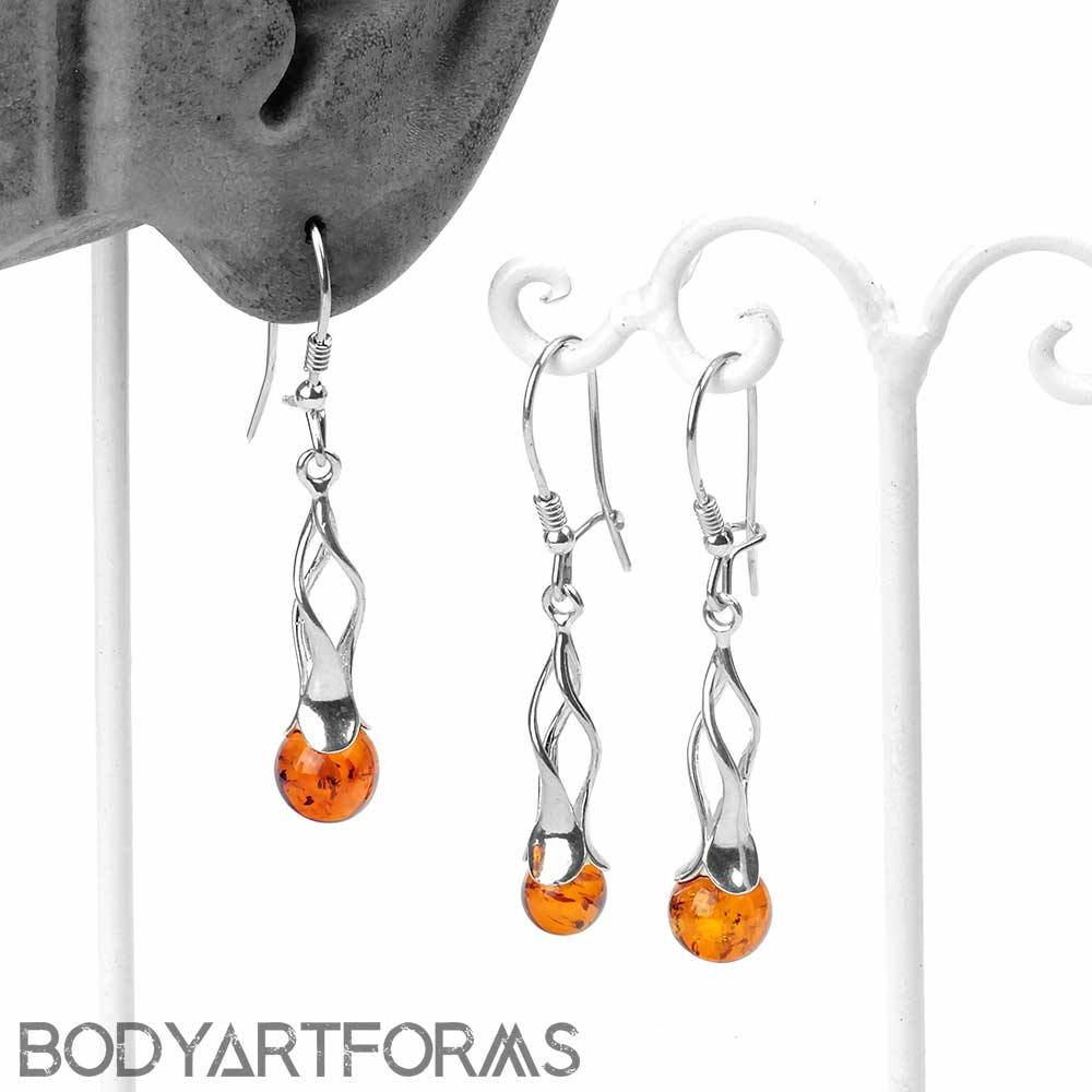 Silver and Amber Dew Drop Earrings