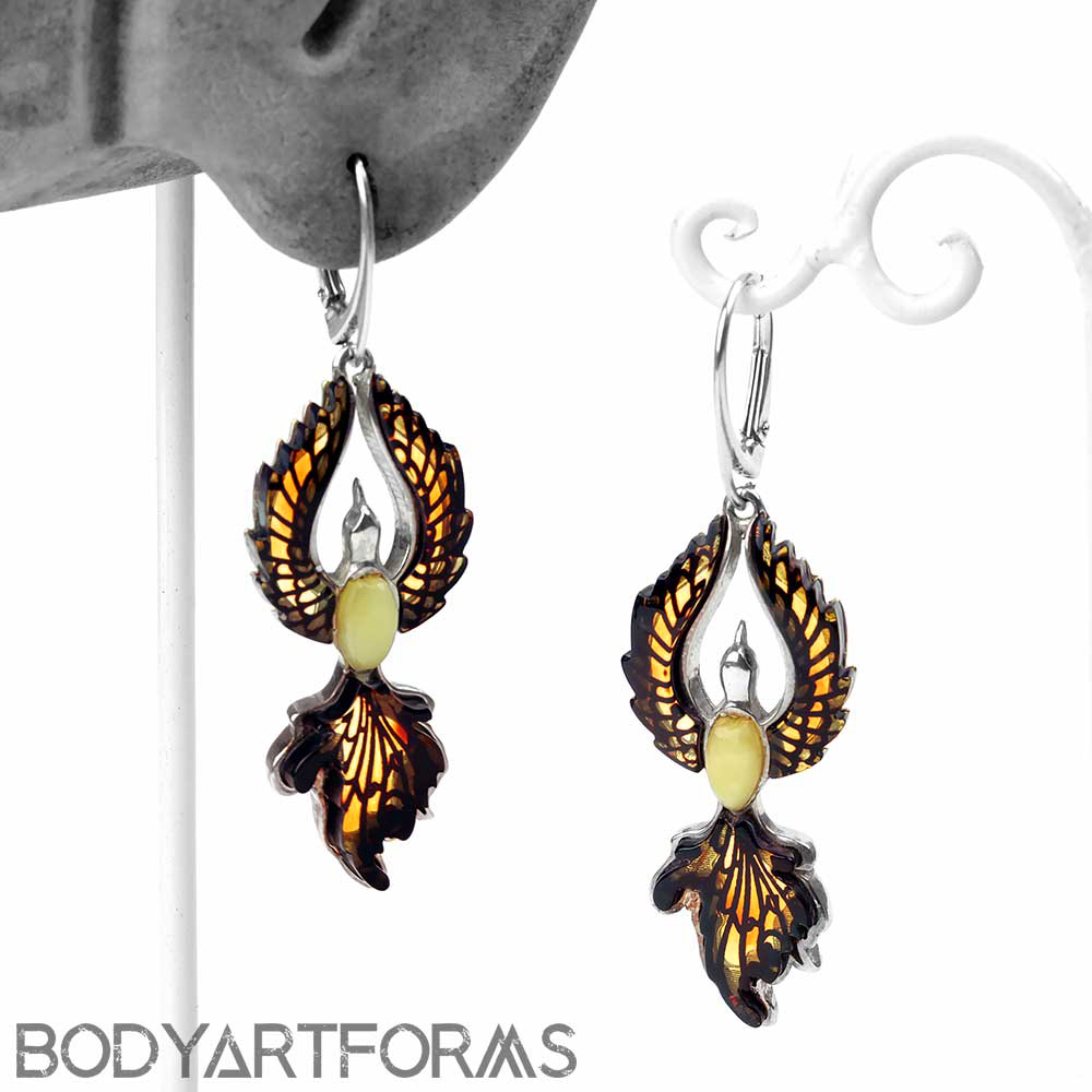 Silver and Amber Phoenix Earrings