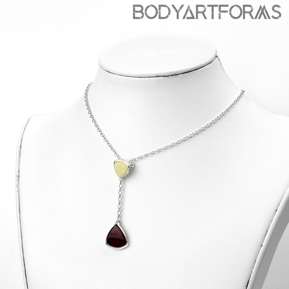 Silver and Amber Dual Drop Necklace