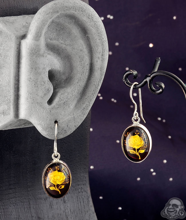 Sterling Silver and Engraved Amber Earrings