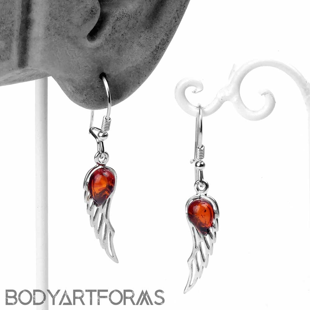 Silver and Amber Feather Earrings