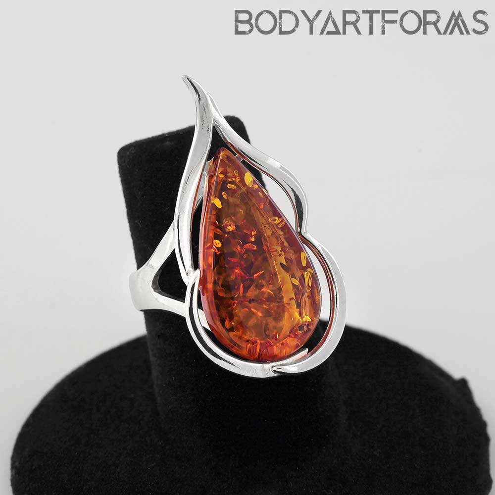 Adjustable Silver and Amber Flame Ring